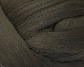Dyed Merino - Carbon- Solid color commercial dyed - combed top roving spinning felting fiber fibre arts  - Dark green gray grey black