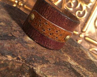 Distressed Leather and Metal Cuff