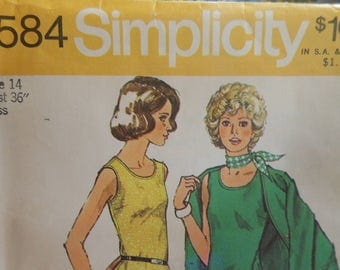 "Simplicity 5584 Knit Unlined Cardigan and Top Pattern Size 14 Bust 36"" Published 1973"