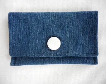 Denim Passport Cover RFID blocked w/ Mother of Pearl button closure, for travel, going away gift, bon voyage gift, extra credit cards