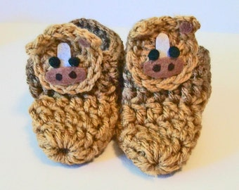 Brown Tan Horse Pony Adorable Hand Crocheted Baby Bootie Shoes Great Photo Prop Matching Hat & Bib Also Available