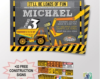 Construction Birthday Party, Dump Birthday Party Invitation, Dump Truck Party, Printable, DIY