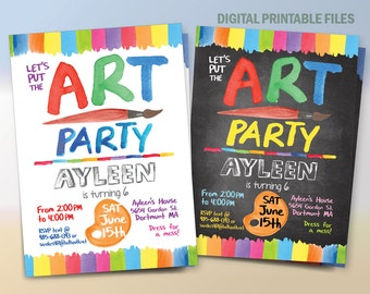 Art Birthday Party Invitation, Paint Party Invitation, Art Birthday Party, Paint Birthday Party, Drawing Party, Water colors Painting Party