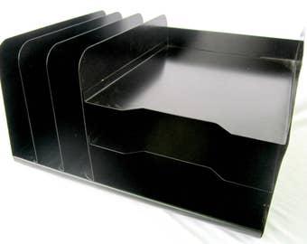 Black Metal File Folder Bin Divided Storage Cube Home Office Desk Organization Industrial Decor