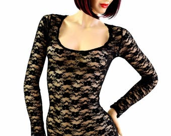 Black Lace Long Sleeve Romper Bodysuit Onsie (No Hood) Rave Festival Clubwear 154449