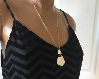 Trifari Enamel Pendant Necklace Gold tone and Off White Signed Geometric Design