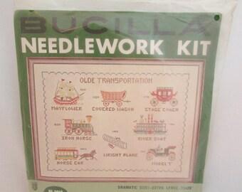 Needlework Embroidery Kit - Olde Transportation Sampler