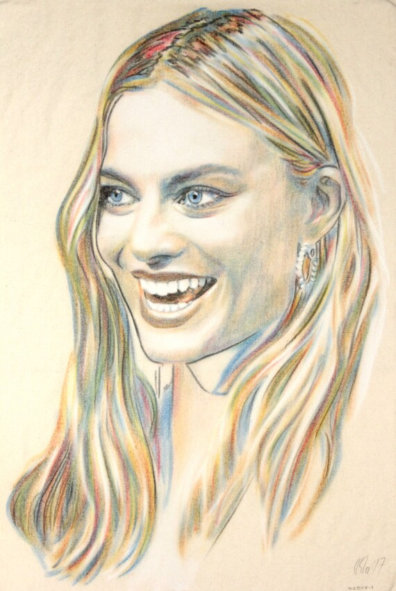 Original hand drawn portrait of Margot Robbie, in charcoal and pastel on calico