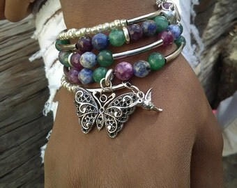 REBIRTH - Coil Memory Wire Wrap Bracelet, Affirmation Jewelry, Cause Jewelry, Benefits Homeless Mothers of Atlanta