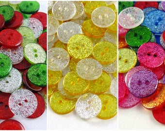 13mm Glitter Sparkly Buttons - 12 Beautiful Colours to Choose from