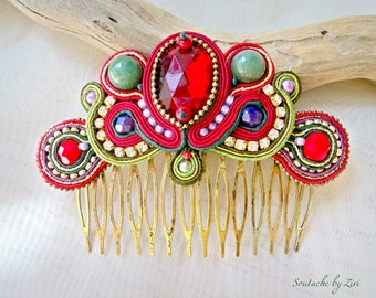 Red Gold Soutache Hair Comb, Green Red Fascinator, Bridal Headpiece, Soutache Hair Comb, Rhinestone Hair Comb Fascinator, Red Hair comb