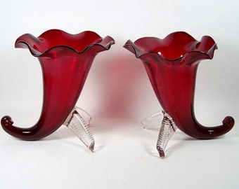 Vintage Art Glass Vase Pair Cornucopia Shape Ruby Red Ruffled Rim Clear Foot