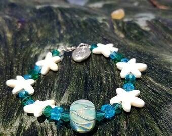 Lampwork bead starfish bracelet