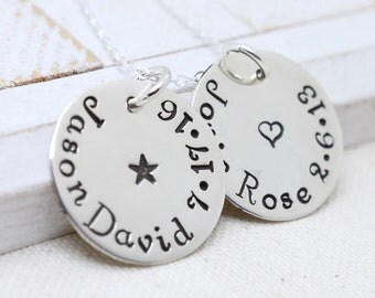 Personalized Name Necklaces for Women, Mom Necklace with Kids Names, Disc Name Necklace, Family Necklace, Dainty Name Necklace, Grandma Nana