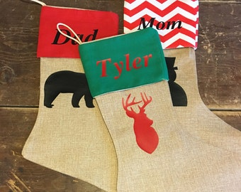 FREE Shipping ship Personalized burlap muslin Christmas Stocking Red chevron deer stag santa matching family lodge kids nativity rustic