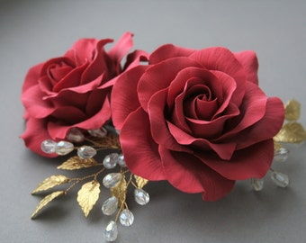 Red rose hair comb, wedding hair comb, rose comb, bridal hair comb, red wedding, flower comb, red hair accessories