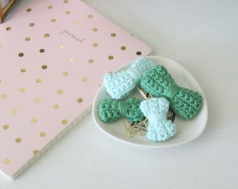 Ice Blue + Green Apple | Crochet Bow Planner Paper Clip