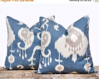 SALE ENDS SOON Blue Ikat Pillow Covers, Blue and Cream Pillowcases, Ikat Pillow Covers, Decorative Pillows for Couch, Set of 2, 16 x 16""