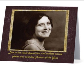 Funny Happy Mother's Day Card, Mother of the Year, vintage sepia woman photo