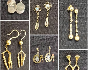 Vintage Chinese Silver / Silver gold plated vermeil drop earrings various styles