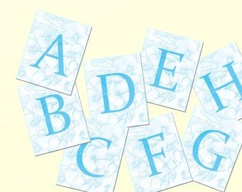 Printable Alphabet Art, ABC Instant Download, Blue Alphabet Letters, Floral Clipart, Downloadable Clipart, Scrapbooking, Alphabet Printables