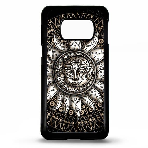 Aztec mayan crescent sun moon symbol art pattern print rubber