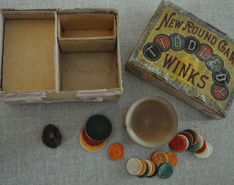 Antique 1890's Victorian Tiddledy Winks Game, Bone Chips, Bamboo Pot. McLouglin Bros New York. Cool Graphics. Great Collectible to Display.