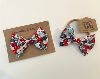 Red, Teal and Navy Floral Clip On Bow Tie, Red, Teal and Navy Floral Hair Bow, Baby Bow Tie, Baby Hair Bow, Toddler Bow Tie, Toddler Bow