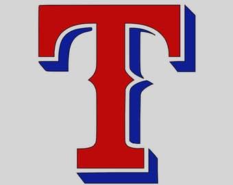 """TXR01 Texas Rangers """"T"""" Vinyl Decal 2 Color"""