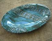 Mahjong Serving Plate in Blue - Mahjong Pottery - Oriental Plate