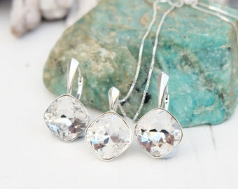 Clear crystal Swarovski square earrings necklace set Sterling Silver jewellery Cushion cut crystal drop bridesmaids wedding earrings