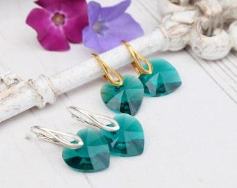 Emerald green Swarovski heart crystal earrings Emerald heart jewellery Silver gold bridesmaids earrings Bridesmaids gift Small kids earrings