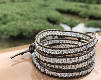 Crystal Beaded 4 Wrap Bracelet on Dark Brown Leather - Chan Luu Style
