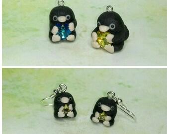 Kawaii/ Cute Fantastic Beasts Inspired Niffler, Earrings OR Necklace, Real Swarovskis