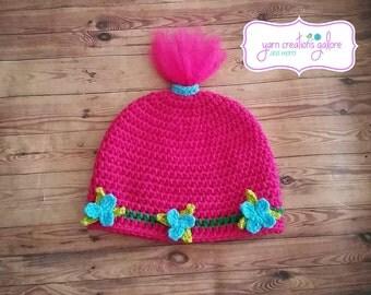 Crochet Pink Troll Hat