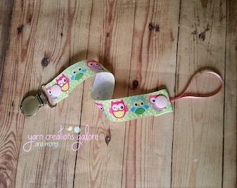 Pacifier Holder- Pink, Green & Blue Owls