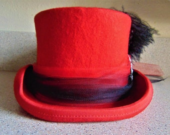 Steampunk Red Wool Victorian Riding Top Hat