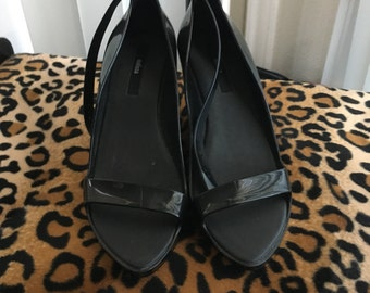 Melissa plastic wedge heels-Black