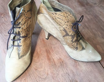 True Vintage 70s/80s Suede and Snake Skin Ankle Booties Size 7.5