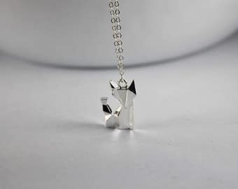 Fox necklace , Initial Silver fox necklace, Gold Fox Jewelry, Fox Animal Necklace, Animal art Jewelry, Kids Jewelry Children,babe Little Fox