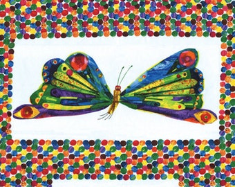 The Very Hungry Caterpillar Growing Up Panel by Eric Carle for Andover Fabrics for Makower UK 3471/M
