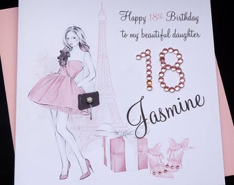 Personalised Birthday Card / Shopping / Paris / 16th 18th 21st etc