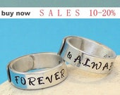 FOREVER AND ALWAYS Rings.. Personalized Couple rings.. Couple Ring Set.. Custom Hand Stamped, Aluminum Rings..YOu WiLL LOvE ThEm...
