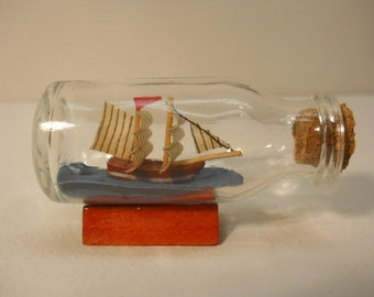 Vintage Small Glass Ship in the Bottle with Cork n148
