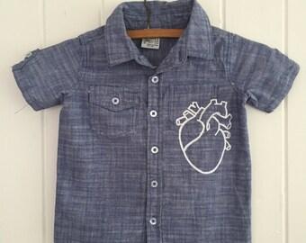 Kids custom hand painted denim shirt