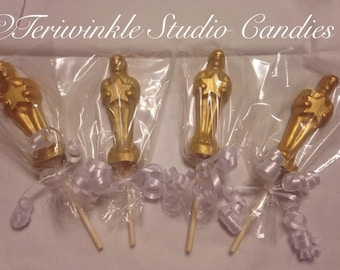 Chocolate Oscars Award statue wrapped and ribboned