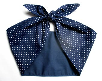 Navy Blue  and white Polka Dots Extra wide Headband Pinup Vintage Retro Style 50s Rockabilly