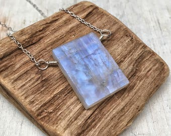 Geometric square blue moonstone necklace