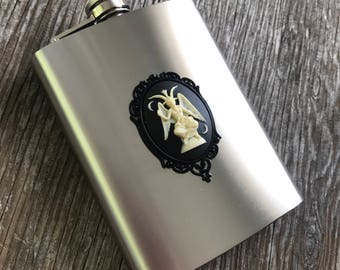 Baphomet Flask, 8oz, Stainless Steel, Cameo, Occult, Witchy, Witchcraft, Baphomet Gift, Black, Goat, Pentagram