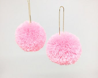 Pom pom drop threader earrings in Pastel Pink